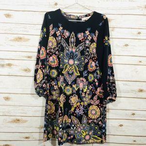 Ann Taylor loft Long sleeve Black Floral Dress